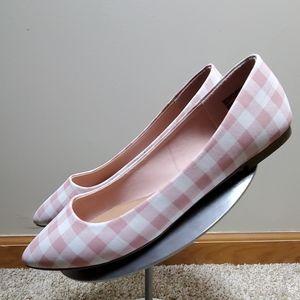 NWT■Blush Pink Gingham Ballet Flats